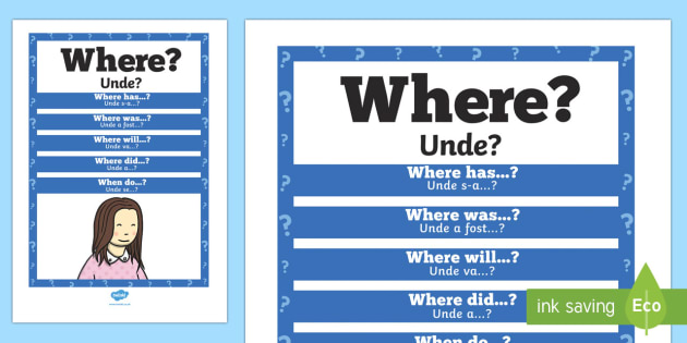 Where? Question Poster English/Romanian