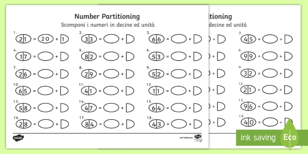 tens and ones number partitioning worksheet activity sheet english italian. Black Bedroom Furniture Sets. Home Design Ideas