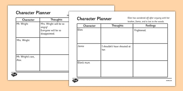 character emotions writing activity