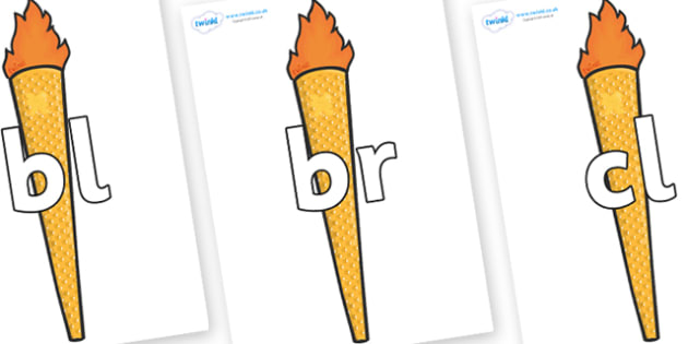 Initial Letter Blends on Torches - Initial Letters, initial letter, letter blend, letter blends, consonant, consonants, digraph, trigraph, literacy, alphabet, letters, foundation stage literacy