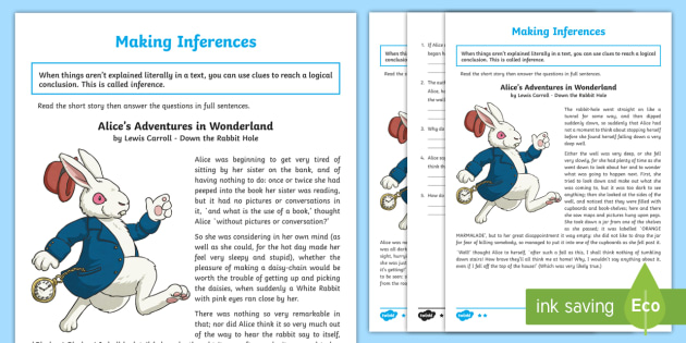 Alice S Adventures In Wonderland Inference Worksheet Activity Sheet