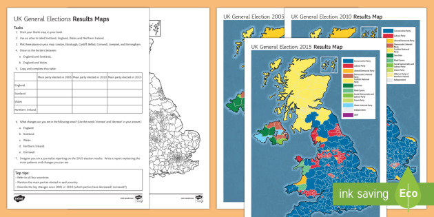 uk general election results maps worksheet activity sheet secondary event general election