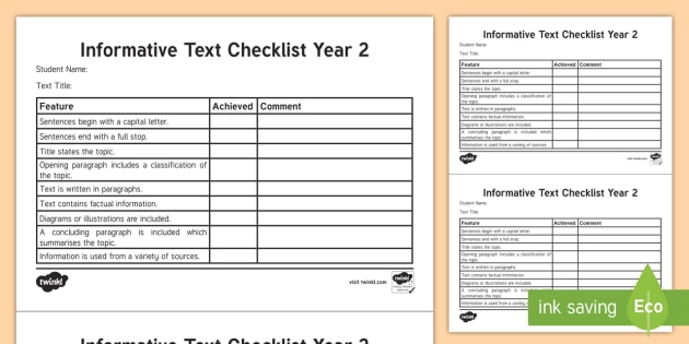 year 2 informative text checklist