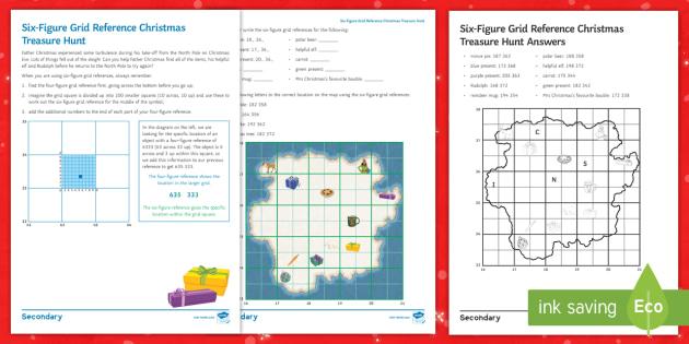 six figure grid reference christmas treasure hunt worksheet activity sheet maps plotting