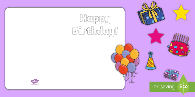 Design Your Own Birthday Cards Black And White Printable