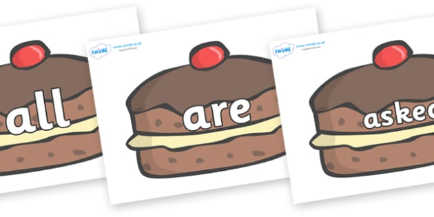 Tricky Words on Chocolate Buns - Tricky words, DfES Letters and Sounds, Letters and sounds, display, words