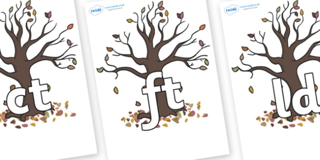 Final Letter Blends on Autumn Trees - Final Letters, final letter, letter blend, letter blends, consonant, consonants, digraph, trigraph, literacy, alphabet, letters, foundation stage literacy