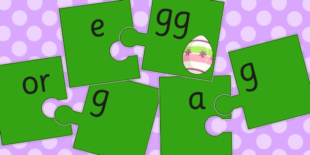 Vowel and Final G Sound Jigsaw Cut Outs - vowel, final, g, sound