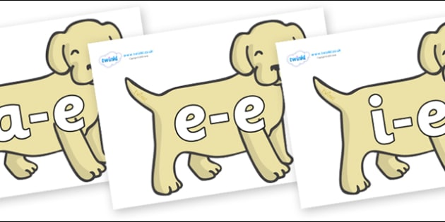 Modifying E Letters on Puppies - Modifying E, letters, modify, Phase 5, Phase five, alternative spellings for phonemes, DfES letters and Sounds