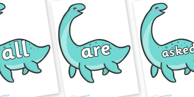 Tricky Words on Pleseosaur Dinosaurs - Tricky words, DfES Letters and Sounds, Letters and sounds, display, words