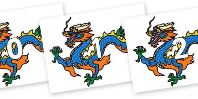 Numbers 0-100 on Chinese Dragons - 0-100, foundation stage numeracy, Number recognition, Number flashcards, counting, number frieze, Display numbers, number posters