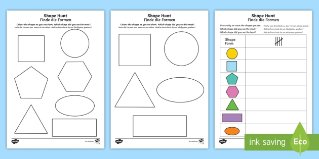 shape hunt worksheet activity sheet english german numeracy. Black Bedroom Furniture Sets. Home Design Ideas