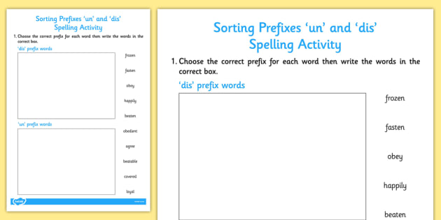 Un' and 'Dis' Prefix Sorting Activity - English - Twinkl