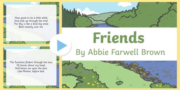 Friends by Abbie Farwell Brown Poem PowerPoint