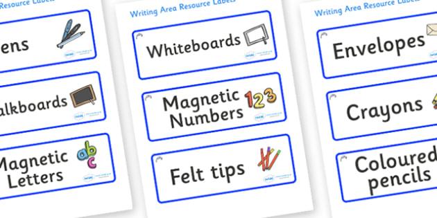 Bluebells Themed Editable Writing Area Resource Labels - Themed writing resource labels, literacy area labels, writing area resources, Label template, Resource Label, Name Labels, Editable Labels, Drawer Labels, KS1 Labels, Foundation Labels, Foundat