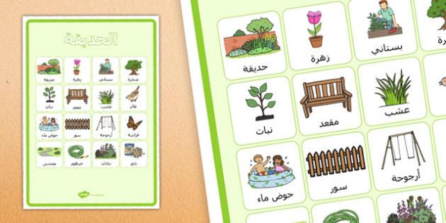 ملصق مفردات الحديقة - بوستر، الحديقة، وسائل تعليمية، مفردات