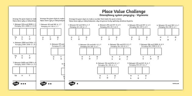 Place Value Challenge Worksheet / Activity Sheet Polish-English, worksheet