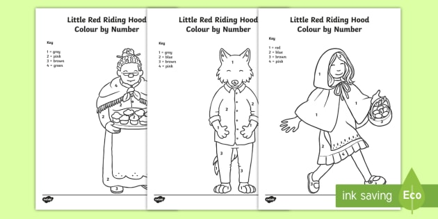 Little Red Riding Hood Colour By Numbers Teacher Made