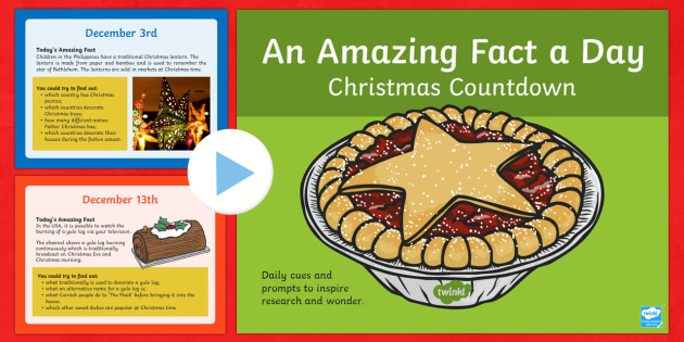 Amazing Fact Of The Day Countdown To Christmas PowerPoint - Amazing Fact Of The Day, activity sheets, PowerPoint, starter, morning activity, December, Christmas