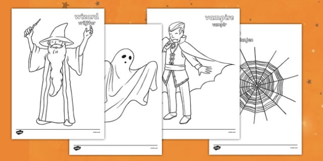 Halloween Colouring Pictures Romanian Translation - romanian, halloween, hallowe'en, colour