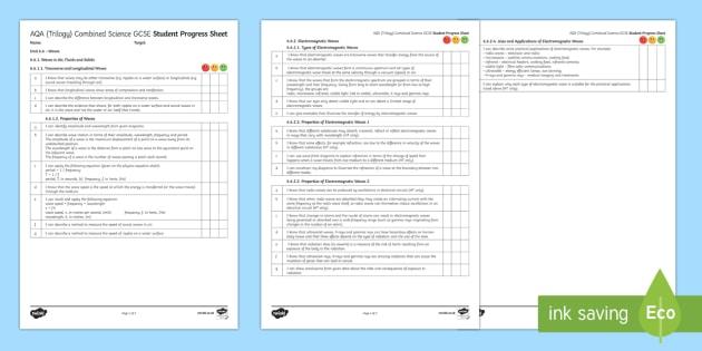 AQA (Trilogy) Unit 6.6 Waves Student Progress Sheet - Student Progress Sheets, AQA, RAG sheet, Unit 6.6 Waves