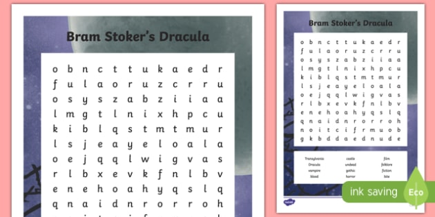 Bram Stoker's Dracula Word Search-Irish
