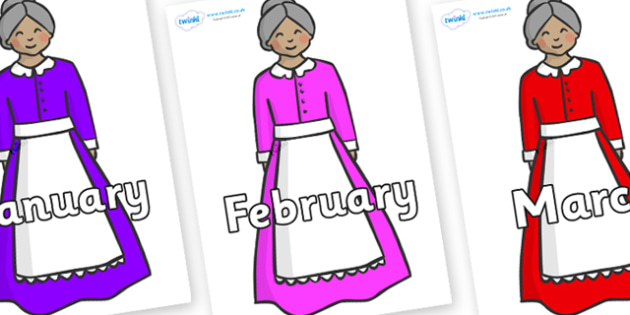 Months of the Year on Old Mother Hubbard - Months of the Year, Months poster, Months display, display, poster, frieze, Months, month, January, February, March, April, May, June, July, August, September
