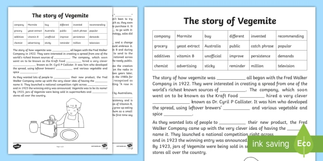Vegemite Cloze Activity Sheet - cloze activity, cloze, reading comprehension, comprehension, vegemite, australia, australian food,wo