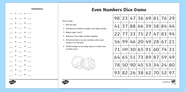 even numbers dice game year 3 odd and even numbers