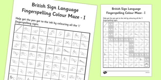 British Sign Language Left Handed Fingerspelling Colour Maze I