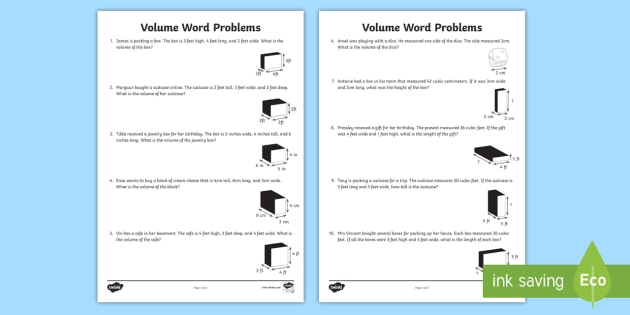 Volume Word Problems Worksheet Activity Sheet Volume Cube