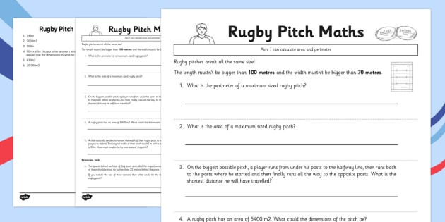 Rugby Pitch Maths - rugby, pitch, maths, numeracy, sports, world cup