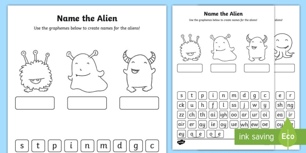 Phonics Screening Phase 2, 3 and 5 Name the Alien Worksheet