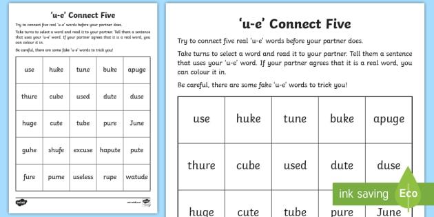 U E Sound Connect Five Worksheet Teacher Made