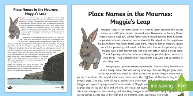 Place Names in the Mournes: Maggie's Leap Story - Northern Ireland, County Down, local, story, place name, poaching, cliff, chasm, history, myth
