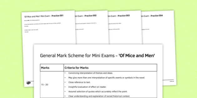 Of Mice and Men Mini Exams Pack - of mice and men, mini exams, pack