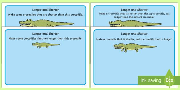 Crocodile Longer and Shorter Playdough Mats - crocodile, longer, shorter, playdough mat, playdough, activity