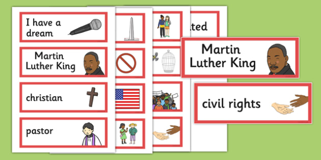 Martin Luther King Jr. Word Cards - martin luther king jr, words, cards