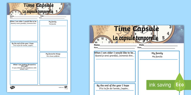 Time Capsule Transition Worksheet Activity Sheet