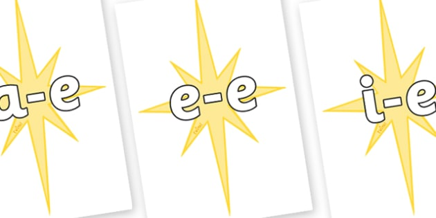 Modifying E Letters on Christmas Stars - Modifying E, letters, modify, Phase 5, Phase five, alternative spellings for phonemes, DfES letters and Sounds