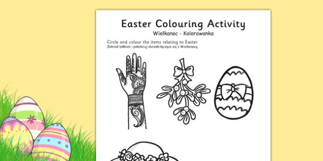 Easter Colouring Activity Sheet Polish Translation - polish, easter, colour, RE, religion, worksheet