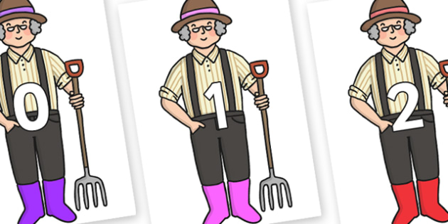Numbers 0-31 on Enormous Turnip Farmer - 0-31, foundation stage numeracy, Number recognition, Number flashcards, counting, number frieze, Display numbers, number posters