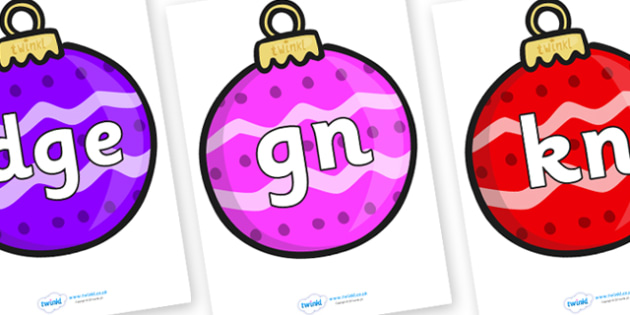Silent Letters on Baubles (Patterned) - Silent Letters, silent letter, letter blend, consonant, consonants, digraph, trigraph, A-Z letters, literacy, alphabet, letters, alternative sounds