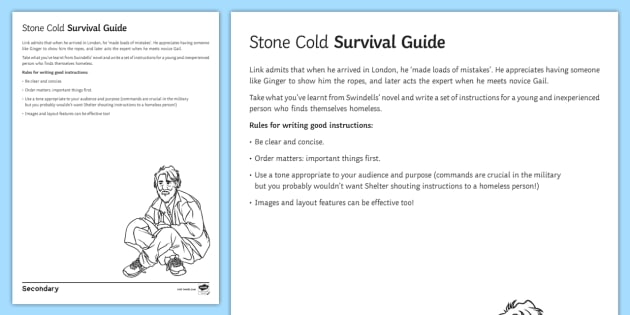 Survival Guide Worksheet / Activity Sheet to Support Teaching On