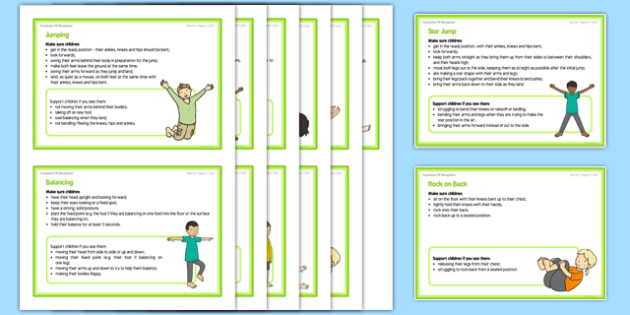 Foundation PE (Reception) - Gymnastics - Jumping Jacks and Rock 'n' Roll Teacher Support Cards Pack - EYFS, PE, Physical Development, Planning