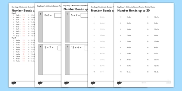 KS1 Arithmetic Content Practice Activity Sheet Pack Number Bonds to 20 - Maths, KS1, Key Stage 1, Arithmetic, Number bonds, addition, subtraction, facts, worksheet