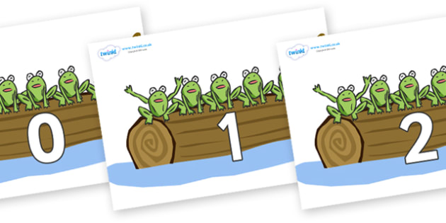 Numbers 0-31 on Little Speckled Frogs - 0-31, foundation stage numeracy, Number recognition, Number flashcards, counting, number frieze, Display numbers, number posters