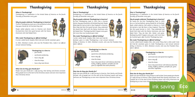 KS1 Thanksgiving Differentiated Fact File