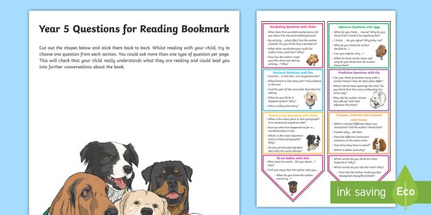 Year 5 Questions For Reading Bookmark Question Cards Y5