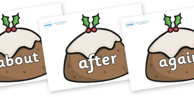 KS1 Keywords on Christmas Puddings - KS1, CLL, Communication language and literacy, Display, Key words, high frequency words, foundation stage literacy, DfES Letters and Sounds, Letters and Sounds, spelling